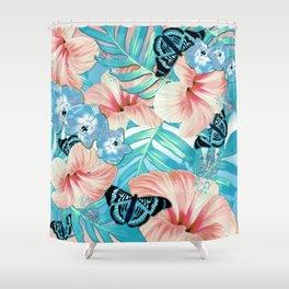 Tropical Spring Aqua Shower Curtain