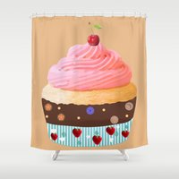 cupcake Shower Curtains featuring Cupcake by My Studio