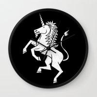unicorn Wall Clocks featuring UNICORN by Matthew Taylor Wilson