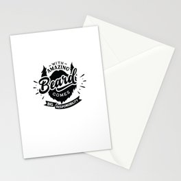 With amazing beard comes Big responsibility - Funny hand drawn quotes illustration. Funny humor. Life sayings. Stationery Cards
