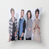 1d Throw Pillows featuring New 1D by kikabarros