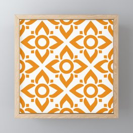 illustration decorative orange seamless vector pattern floral motifs Framed Mini Art Print