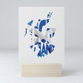 Scotland Typographic Flag / Map Art Mini Art Print