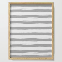 grey and white gross stripes no.3 Serving Tray