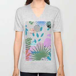 ABSTRACT TROPICAL JUNGLE PATTERN CLASHING Unisex V-Neck