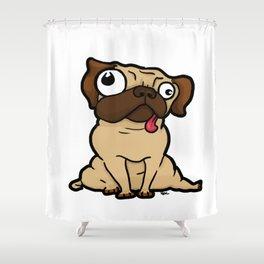 Dopey Pug Shower Curtain