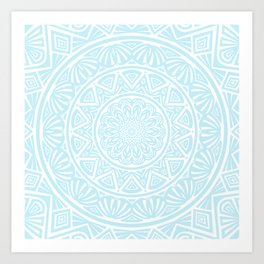 Light Sky Blue Aqua Simple Simplistic Mandala Design Ethnic Tribal Pattern Art Print