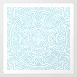 Light Sky Blue Aqua Simple Simplistic Mandala Design Ethnic Tribal Pattern Art Print