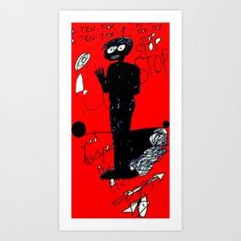 PANIC - red Art Print