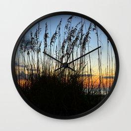 Sea Oats at sunset Wall Clock