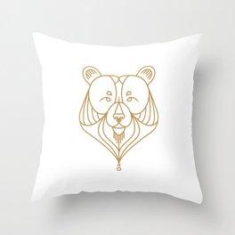 Gold Bear Two Throw Pillow