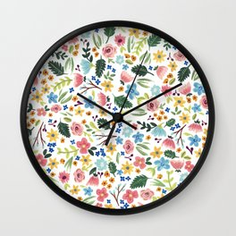 Gouache floral pattern Wall Clock