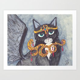 Tuxedo Cat Angel art Art Print