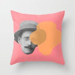 James Joyce - portrait pink and yellow Throw Pillow