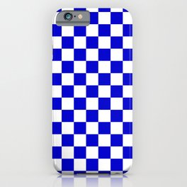 Bright Blue and White Check Pattern - more colors iPhone Case