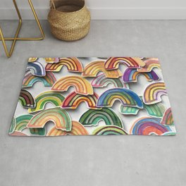 Watercolor Rainbow Stickers Rug