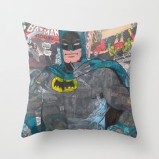 Vintage Comic Bat man Throw Pillow