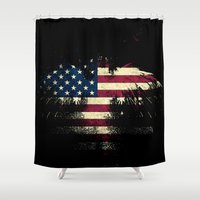 american flag Shower Curtains featuring AMERICAN FLAG by Oksana Smith