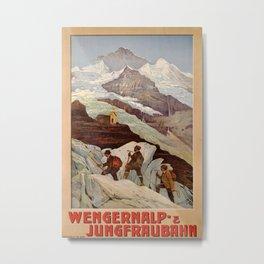 Wengeralp und Jungfraubahn Vintage Travel Poster Metal Print