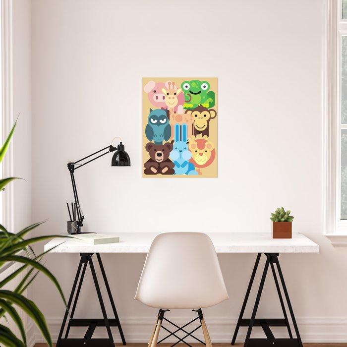 Zoo Animals Farm Kids Room Decor Nursery Baby Poster By Trartstudio