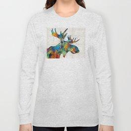 Colorful Moose Art - Confetti - By Sharon Cummings Long Sleeve T-shirt
