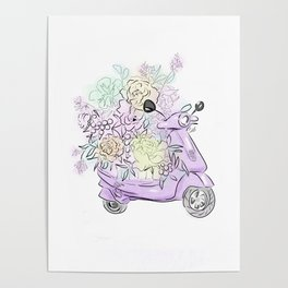 flowers and scooter 2 Poster