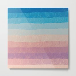 Geometrical navy blue pink watercolor ombre stripes Metal Print