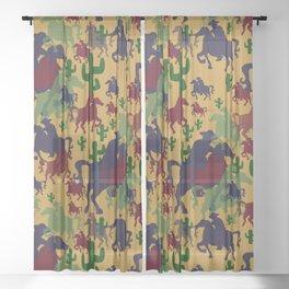 Cowboys Pattern Sheer Curtain