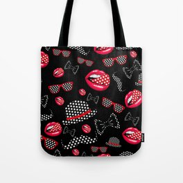 lip hat Vector hipster example image star sexy black red Tote Bag