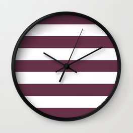 Old mauve - solid color - white stripes pattern Wall Clock