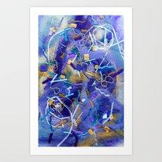 Purple Constellation Fibre Painting Art Print