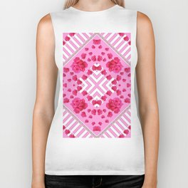 ABSTRACT PINK ROSES and WHITE COLOR PATTERNS Biker Tank