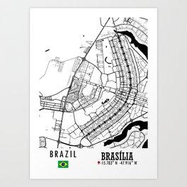 Brasilia, BRAZIL Road Map Art - Earth Tones Art Print