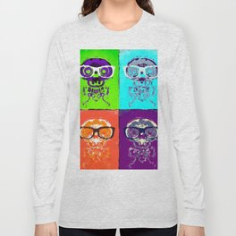funny skull and bone with glasses with green blue orange and purple background Long Sleeve T-shirt