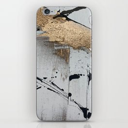 Still: an abstract mixed media piece in black, white, and gold by Alyssa Hamilton Art iPhone Skin