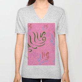 Pink folk artistic design Unisex V-Neck