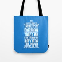 tardis Tote Bags featuring Tardis by Tombst0ne