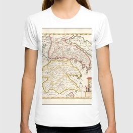 Vintage Map Print - Map of the Southern Regions of Ancient Greece (1700) T-shirt