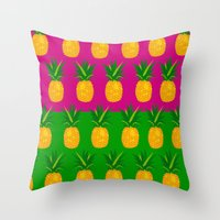 pineapples Throw Pillows featuring Pineapples by The Wallpaper Files