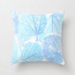 Blue autumn leaves Throw Pillow