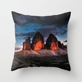 Tre Cime di Lavaredo; Italian Sexten Dolomites--Sunset Throw Pillow