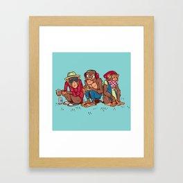 Three Wise Hipster Monkeys Framed Art Print