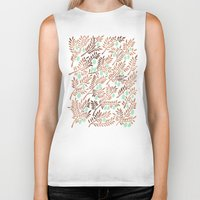 rose gold Biker Tanks featuring Olive Branches – Rose Gold & Mint by Cat Coquillette