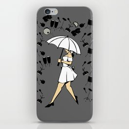Music Art Drums And Woman With Umbrella In The Rain Cartoon Style iPhone Skin