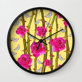 WHITE BUTTERFLIES & CERISE PINK ROSE THORN CANES YELLOW Wall Clock