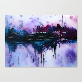 Dawn, pink and fushia black and blue acrylic abstract artwork Canvas Print