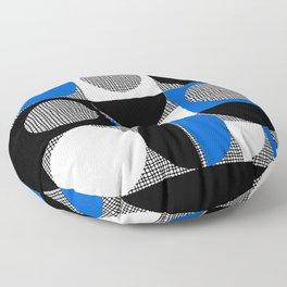 Segments and Circles Black Blue Floor Pillow