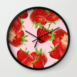 PINK STRAWBERRY SHERBERT ART Wall Clock