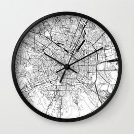 Milan White Map Wall Clock