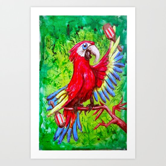 Tropical Parrot with Maracas  Art Print